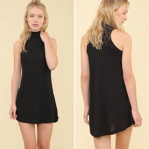 NEW Mock Neck Ribbed Dress | Black